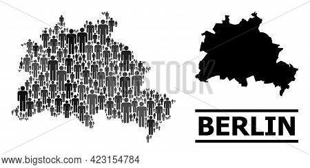 Map Of Berlin City For Political Posters. Vector Population Mosaic. Concept Map Of Berlin City Const