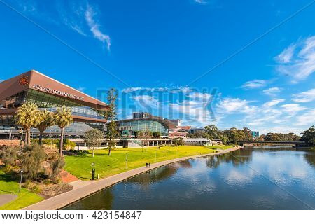 Adelaide, Australia - August 4, 2019: Adelaide Convention Centre Viewed Across Torrens River From Th