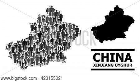 Map Of Xinjiang Uyghur Region For National Applications. Vector Nation Abstraction. Abstraction Map