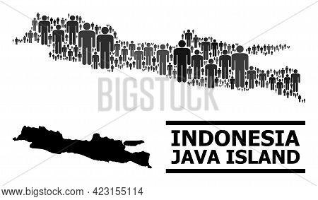 Map Of Java Island For Politics Proclamations. Vector Population Abstraction. Abstraction Map Of Jav
