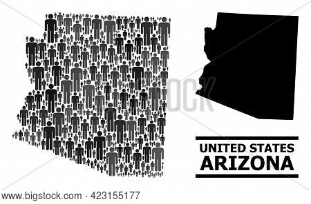 Map Of Arizona State For Social Projects. Vector Population Mosaic. Concept Map Of Arizona State Cre