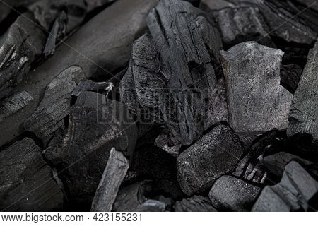 Grill Charcoal Texture. Bbq Coal Block Isolated. Activated Barbeque Charcoal, Natural Organic Hard W