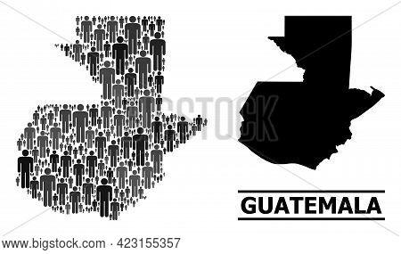Map Of Guatemala For Social Agitprop. Vector Population Mosaic. Mosaic Map Of Guatemala Combined Of