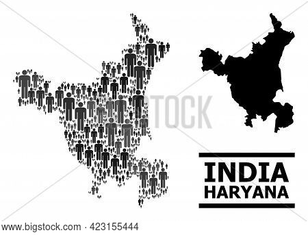 Map Of Haryana State For Demographics Purposes. Vector Demographics Collage. Concept Map Of Haryana