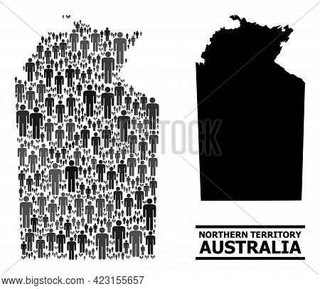 Map Of Australian Northern Territory For Social Promotion. Vector Population Mosaic. Abstraction Map