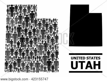 Map Of Utah State For Social Projects. Vector Nation Collage. Composition Map Of Utah State Created