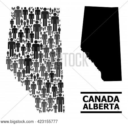 Map Of Alberta Province For Demographics Promotion. Vector Demographics Abstraction. Concept Map Of