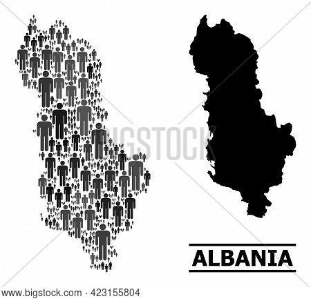 Map Of Albania For Politics Purposes. Vector Demographics Mosaic. Mosaic Map Of Albania Combined Of