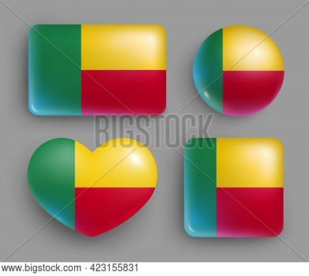 Set Of Glossy Buttons With Benin Country Flag. Western Africa Country National Flag, Shiny Geometric