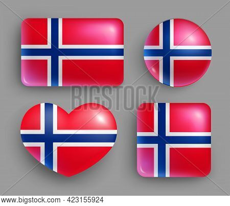 Set Of Glossy Buttons With Norway Country Flag. North Europe Country National Flag Shiny Badges Of G