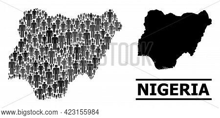 Map Of Nigeria For Demographics Posters. Vector Nation Abstraction. Concept Map Of Nigeria Designed