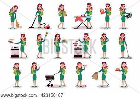 Energetic Housewife Holding Baby In Arms Mopping The Floor, Reading Book And Speaking By Phone Vecto