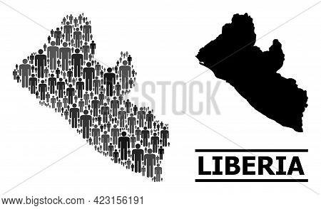 Map Of Liberia For Social Applications. Vector Nation Mosaic. Mosaic Map Of Liberia Composed Of Pers