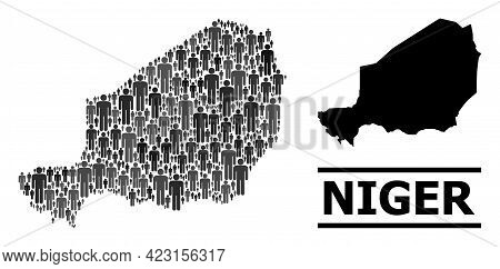 Map Of Niger For National Projects. Vector Population Mosaic. Concept Map Of Niger Combined Of Crowd