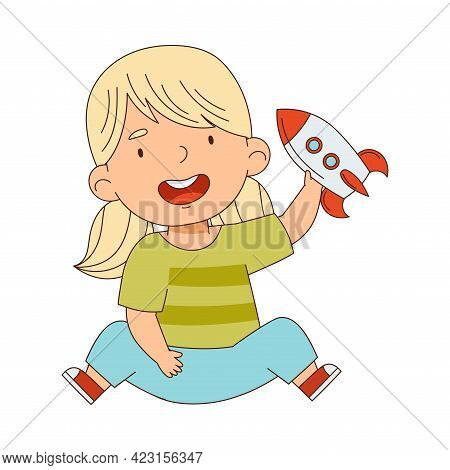 Cute Blond Girl Playing With Rocket Toy Having Fun On Her Own Enjoying Childhood Vector Illustration