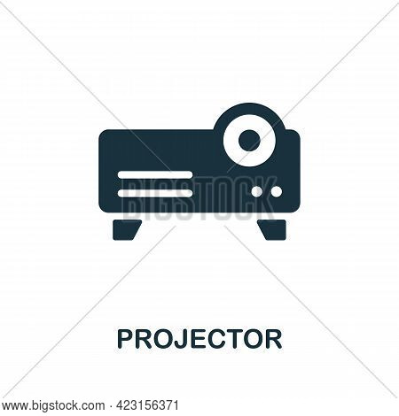 Projector Icon. Monochrome Simple Element From Presentation Collection. Creative Projector Icon For
