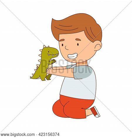Cute Boy Playing With Dinosaur Toy Having Fun On His Own Enjoying Childhood Vector Illustration
