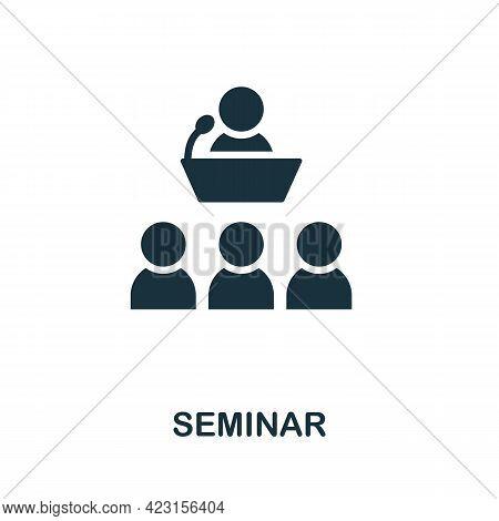 Seminar Icon. Monochrome Simple Element From Presentation Collection. Creative Seminar Icon For Web