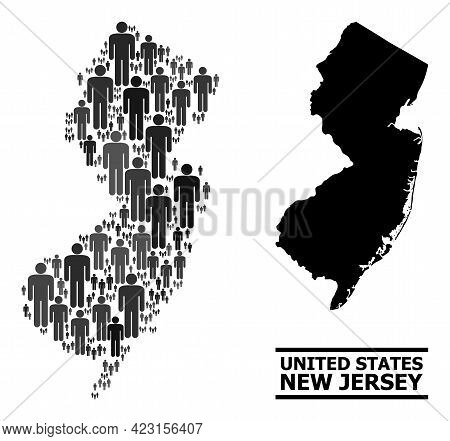 Map Of New Jersey State For Political Applications. Vector Demographics Mosaic. Mosaic Map Of New Je