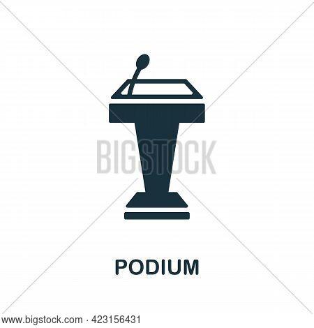 Podium Icon. Monochrome Simple Element From Presentation Collection. Creative Podium Icon For Web De