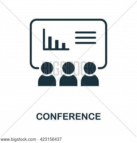 Conference Icon. Monochrome Simple Element From Presentation Collection. Creative Conference Icon Fo