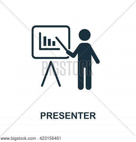 Presenter Icon. Monochrome Simple Element From Presentation Collection. Creative Presenter Icon For