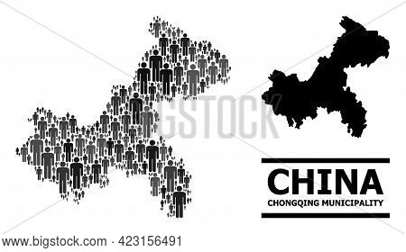 Map Of Chongqing Municipality For National Projects. Vector Population Collage. Abstraction Map Of C