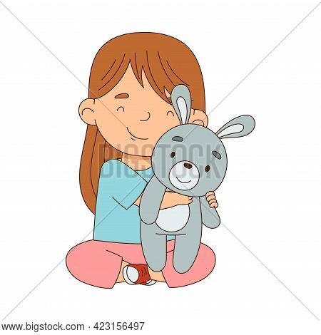 Cute Girl Playing With Stuffed Hare Toy Having Fun On Her Own Enjoying Childhood Vector Illustration