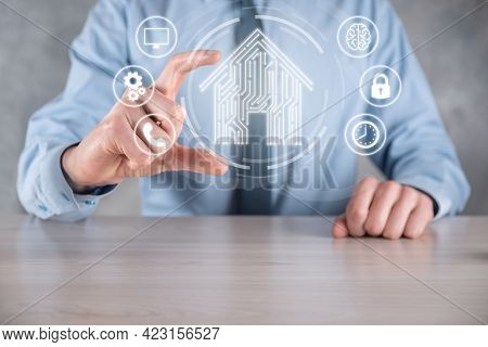 Businessman Hold House Icon.smart Home Controlled, Intelligent House, And Home Automation App Concep