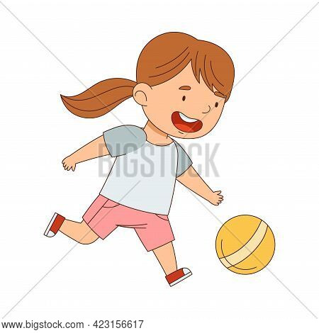 Little Girl With Ponytail Playing With Toy Ball Having Fun On Her Own Enjoying Childhood Vector Illu