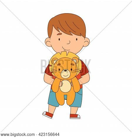 Little Boy Playing With Stuffed Lion Toy Having Fun On His Own Enjoying Childhood Vector Illustratio