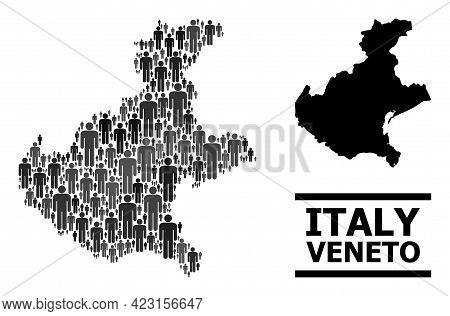 Map Of Veneto Region For National Purposes. Vector Nation Collage. Concept Map Of Veneto Region Comp