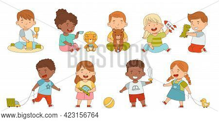 Cute Children Playing With Different Toys Having Fun On Their Own Enjoying Childhood Vector Set