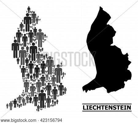 Map Of Liechtenstein For Social Projects. Vector Demographics Mosaic. Concept Map Of Liechtenstein D