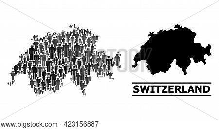 Map Of Switzerland For Politics Promotion. Vector Nation Mosaic. Concept Map Of Switzerland Made Of