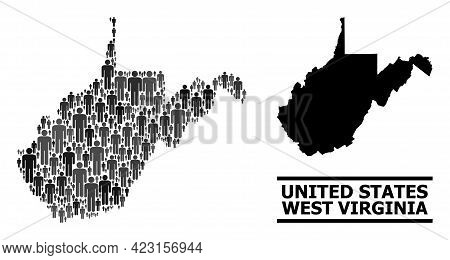 Map Of West Virginia State For Demographics Projects. Vector Demographics Collage. Mosaic Map Of Wes