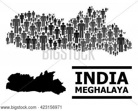 Map Of Meghalaya State For Demographics Promotion. Vector Demographics Mosaic. Mosaic Map Of Meghala