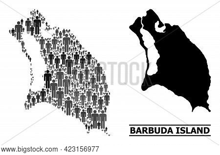 Map Of Barbuda Island For Demographics Proclamations. Vector Demographics Collage. Concept Map Of Ba