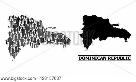 Map Of Dominican Republic For Demographics Agitprop. Vector Demographics Collage. Pattern Map Of Dom