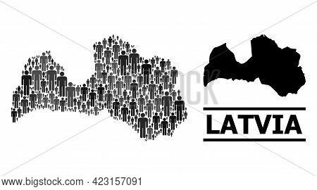 Map Of Latvia For Political Agitation. Vector Demographics Abstraction. Abstraction Map Of Latvia Or