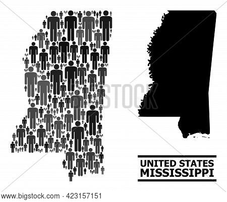 Map Of Mississippi State For National Agitprop. Vector Demographics Abstraction. Concept Map Of Miss
