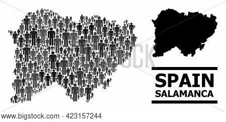 Map Of Salamanca Province For Social Projects. Vector Population Mosaic. Concept Map Of Salamanca Pr