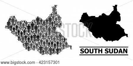Map Of South Sudan For Social Proclamations. Vector Population Collage. Collage Map Of South Sudan C