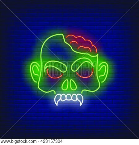 Zombie Head With Brains Neon Sign. Halloween, Monster, Horror Design. Night Bright Neon Sign, Colorf