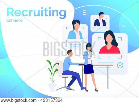 Recruiting Agents Studying Candidate Profiles. Personnel Search, Recruitment, Employment. Human Reso