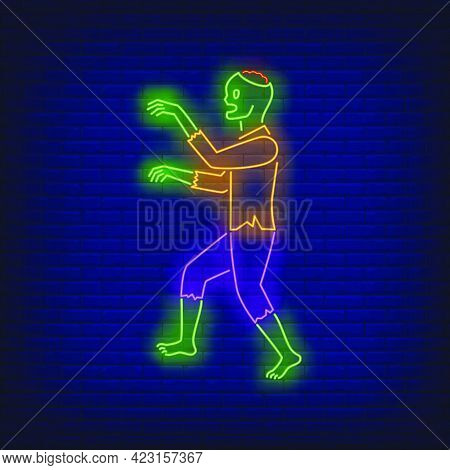 Zombie Walking Neon Sign. Halloween, Monster, Horror Design. Night Bright Neon Sign, Colorful Billbo