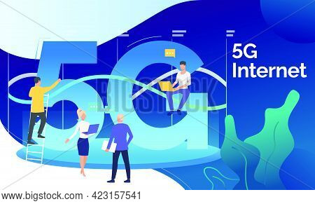 Technical Developers Working On 5g Network Project. Fifth Generation, Wifi Connection, Telecom. Tech