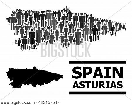 Map Of Asturias Province For Social Projects. Vector Demographics Collage. Collage Map Of Asturias P