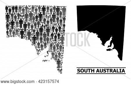 Map Of South Australia For Political Propaganda. Vector Demographics Collage. Concept Map Of South A