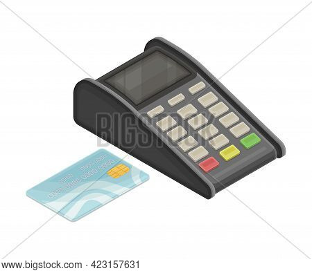 Point Of Sale Or Payment Terminal And Plastic Card As Wireless Network Communication Technology Isom